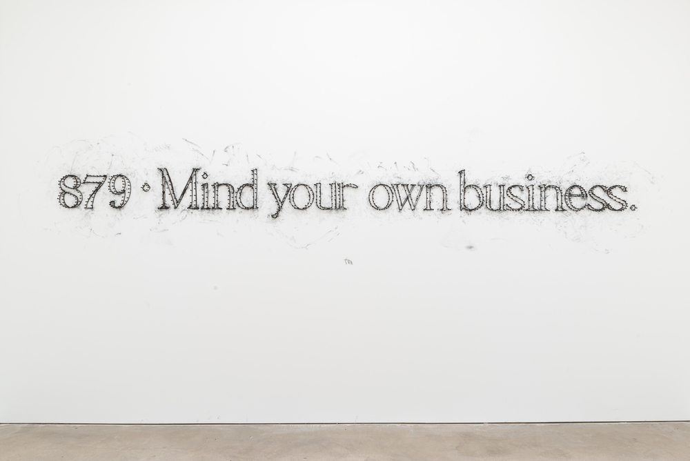 Tony Lewis  879- Mind your own business.  2015 Graphite, nails, rubber bands Dimensions Variable TL353