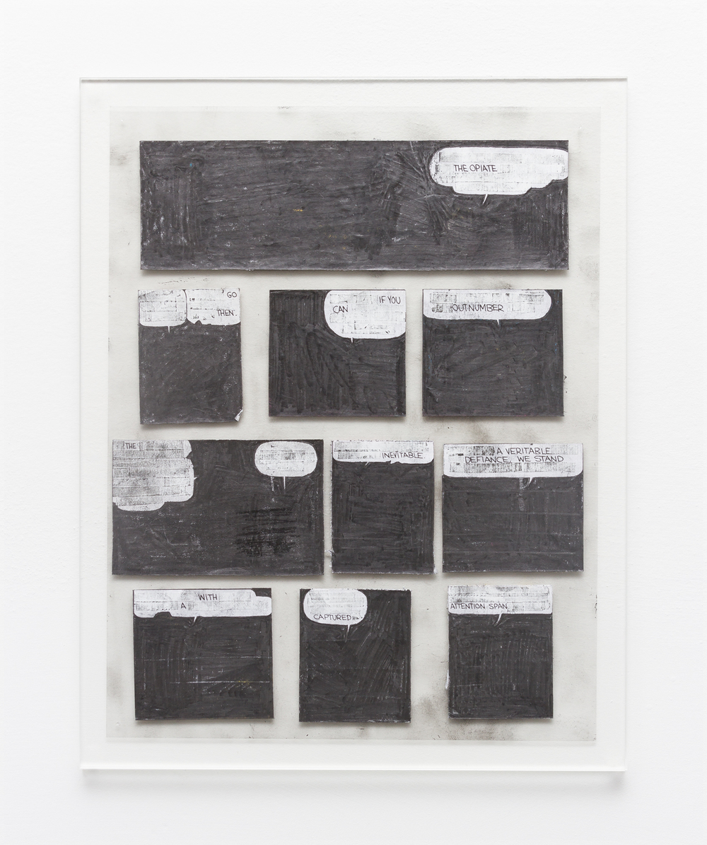 Tony Lewis  The Opiate  2015 Pencil, graphite powder, and correction fluid on paper and transparency 11h x 8 ½w in TL285