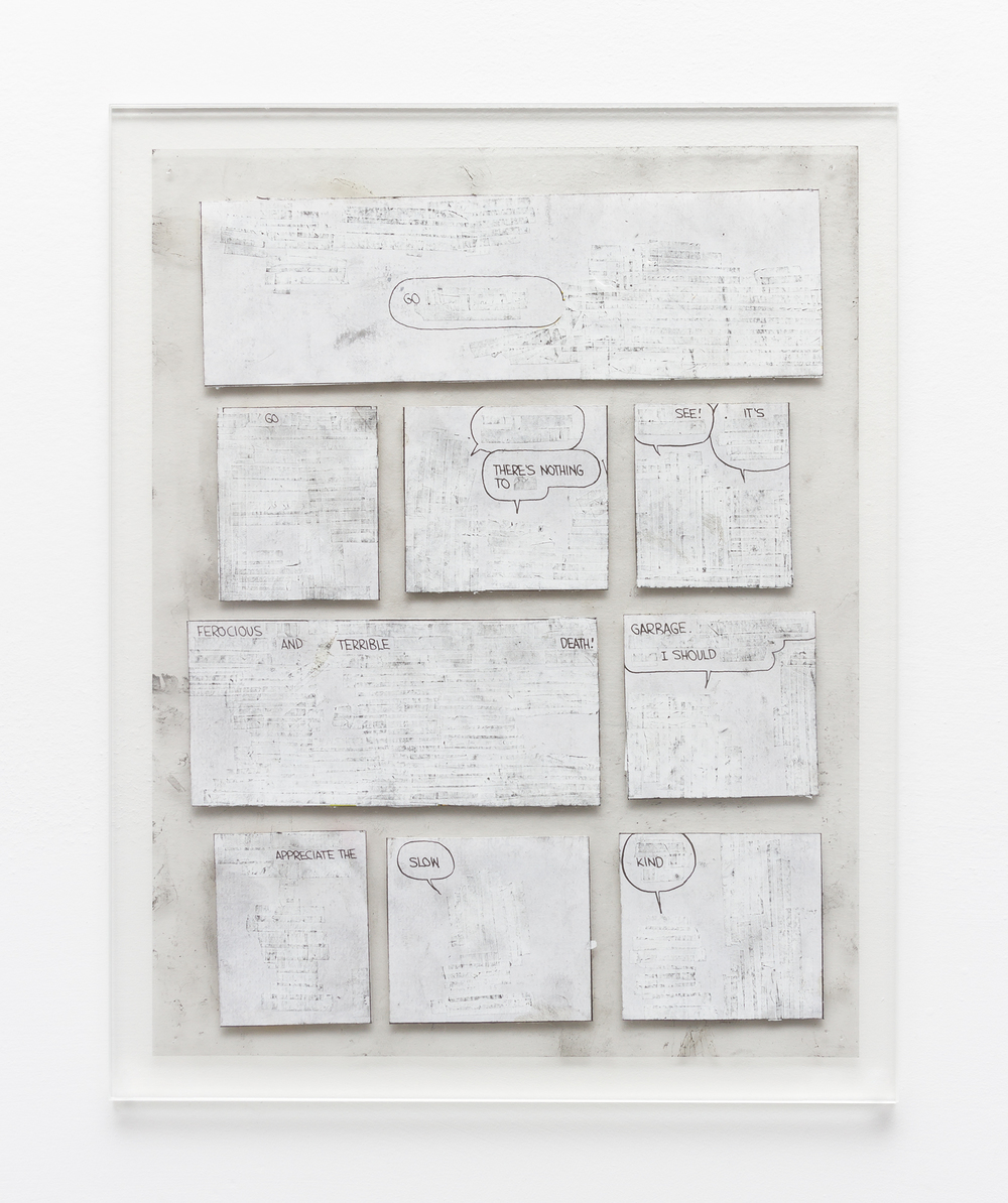 Tony Lewis  Go  2015 Pencil, graphite powder, and correction fluid on paper and transparency 11h x 8 ½w in TL286