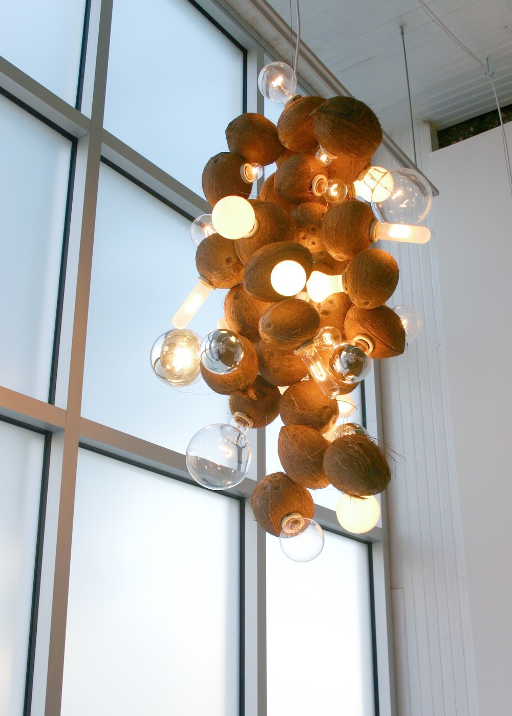 "Guyton/Walker Coconut Chandelier                               2006 Coconuts, light fixtures, light bulbs 44"" x 30"""