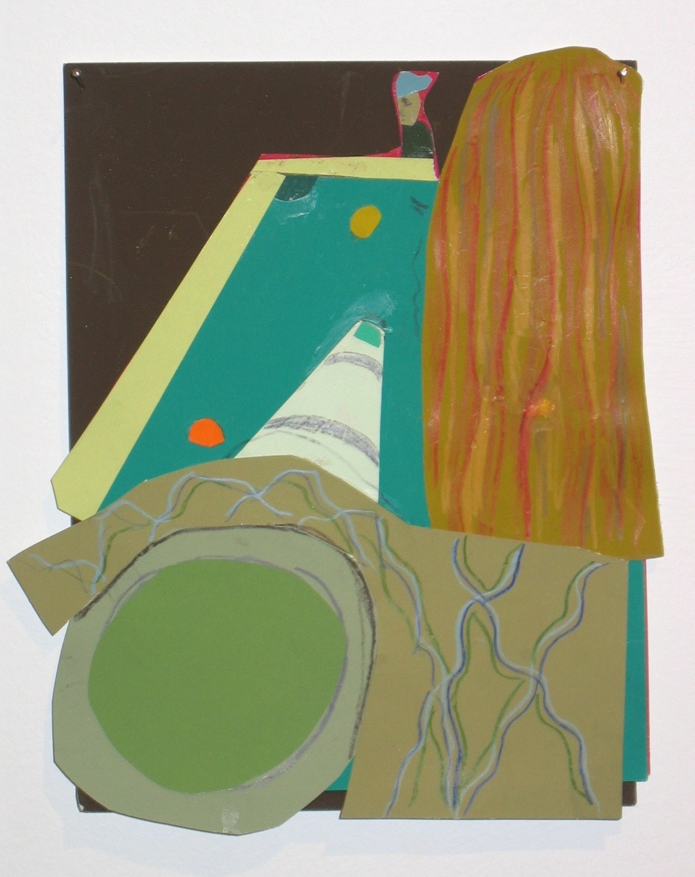 "Jennifer Rochlin Pool Game 2005 Color-aid paper and prismacolor collage 4 1/2"" x 6"""