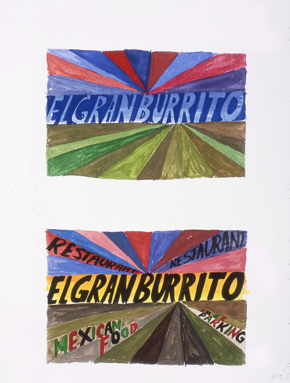 "Mark Grotjahn Study for El Gran Burrito 2002 Gouache and pencil on paper 11 ¾"" x 7 ½"""