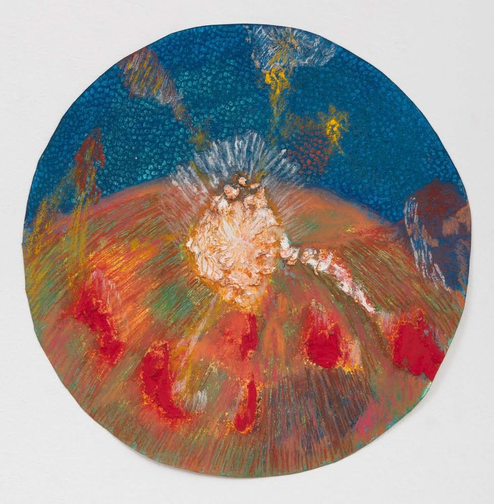 Mimi Lauter  Carousel ('of thought tormented music') (Miniature)  2015 Soft pastel, oil pastel on paper 11 ½in radius (artwork); 15 ⅝h x 15 ⅝w x 1 ¾d in (framed) MLaut030