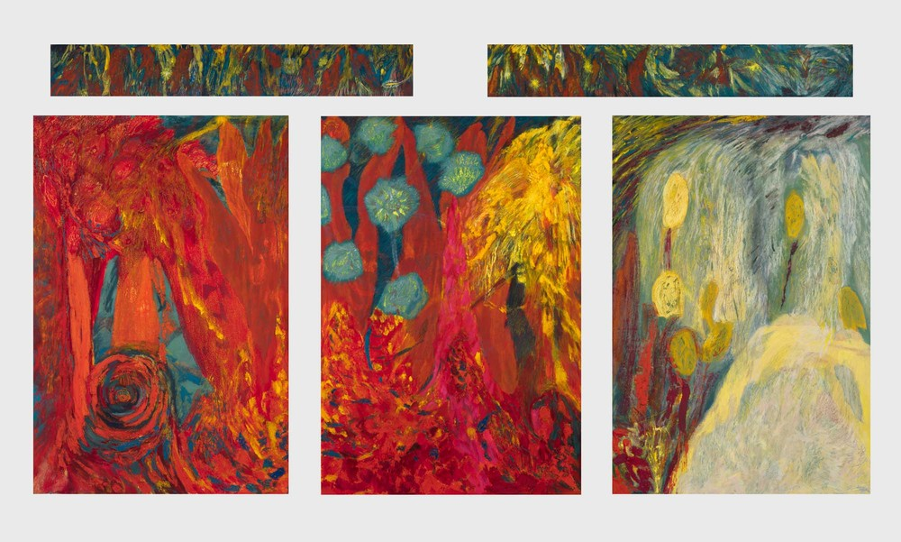 "Mimi Lauter Carnival of 'Musical Echo' 2015 Soft pastel, oil pastel on paper 120"" x 218"" installed, 3 @ 95 x 65 1/8, 2 @ 15 3/4 x 99 ½ in (artwork); 3 @ 99 5/8 x 69 3/4 x 3 in, 2 @ 20 3/8 x 104 1/8 x 3 in (framed) MLaut039"