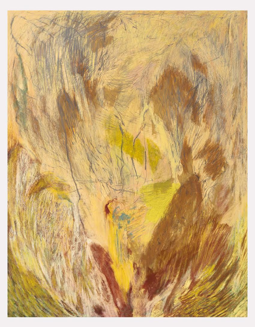 Mimi Lauter  A Lone Performer  2015 Soft pastel, oil pastel on paper 77 ⅜h x 60w in (artwork); 82h x 64 ¾w x 3d in (framed) MLaut043