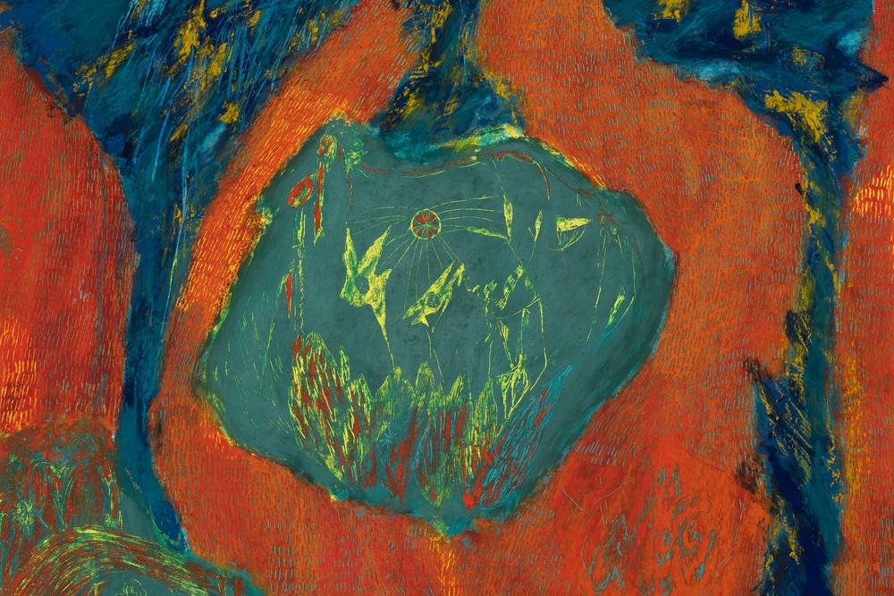 Mimi Lauter  Prelude  (Detail) 2015 Soft pastel, oil pastel on paper 71h x 96 ¼w in (artwork); 75 ⅝h x 100 ⅞w x 3d in (framed) MLaut033