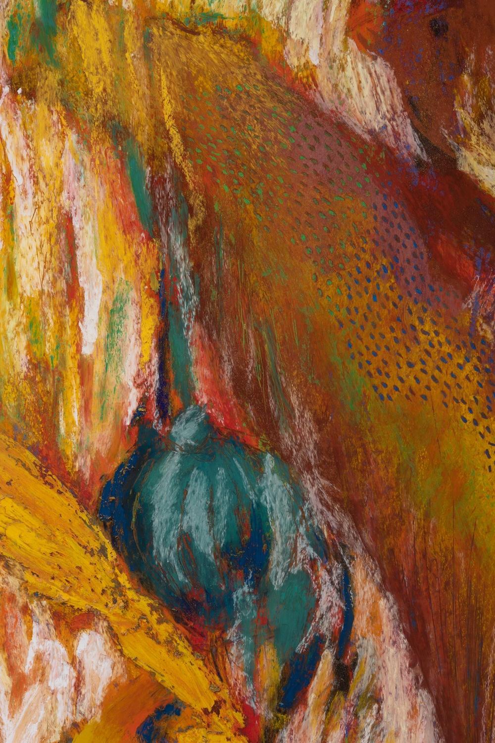 Mimi Lauter  The Conductor  (Detail) 2015 Soft pastel, oil pastel on paper 92 ¾h x 72 ¼w in (artwork); 97 ⅜h x 76 ⅞w x 3d in (framed) MLaut035