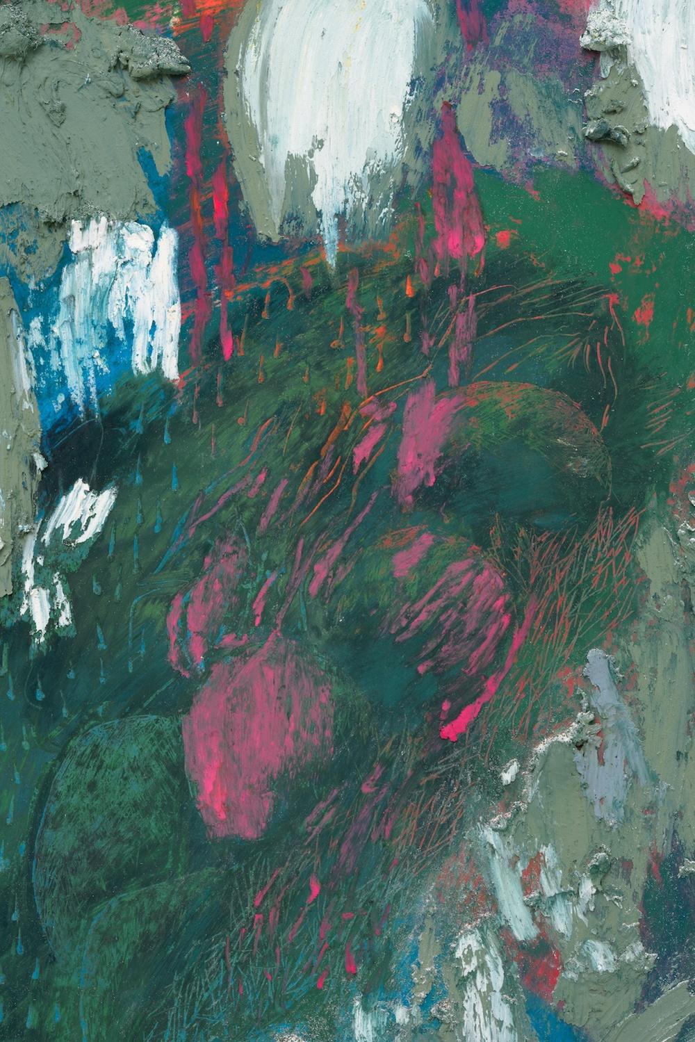 Mimi Lauter  The Goose  (Detail) 2015 Soft pastel, oil pastel on paper 83 ⅜h x 65w in (artwork); 88h x 69 ⅝w x 3d in (framed) MLaut044