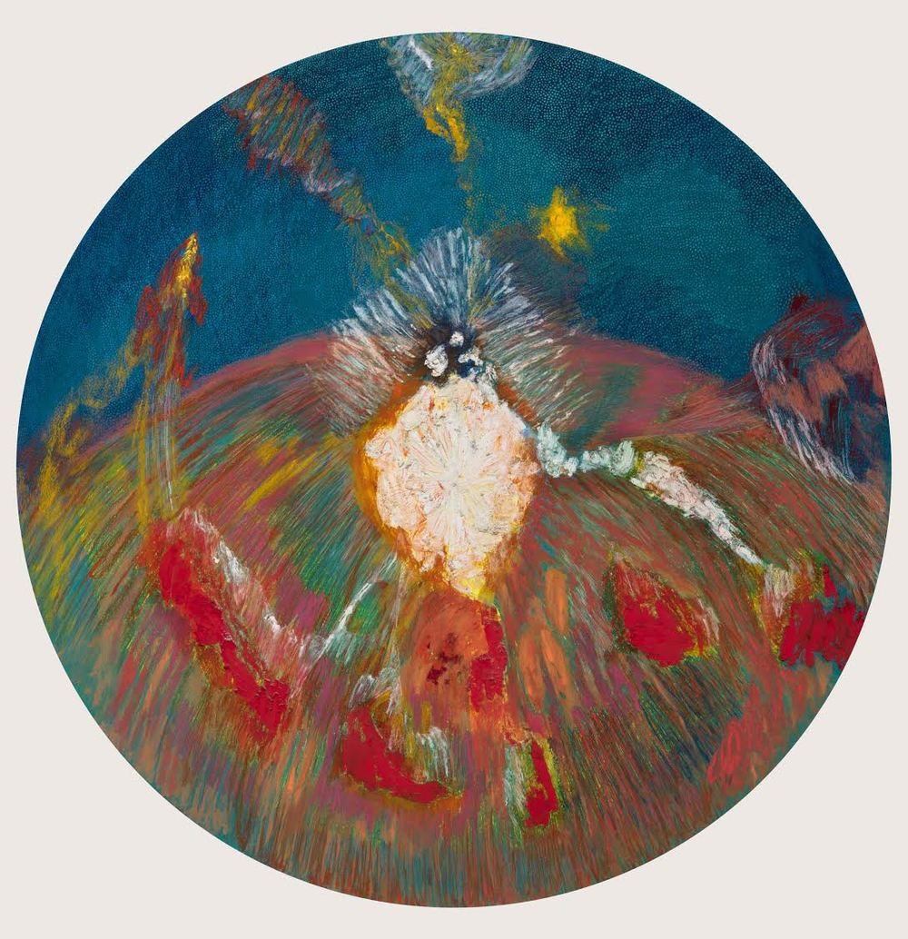 Mimi Lauter Carousel ('of thought tormented music') 2015 Soft pastel, oil pastel on paper 70 1/4 in radius (artwork); 74 7/8 x 74 7/8 x 3 in (framed) MLaut031