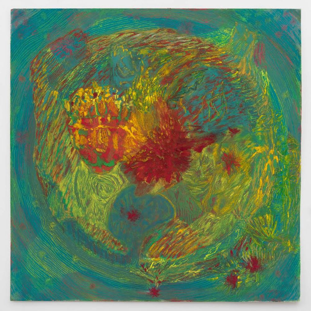 Mimi Lauter Map of the World (Miniature) 2015 Soft pastel, oil pastel on paper 14 1/4 x 14 1/4 in (artwork); 18 3/8 x 18 3/8 x 1 3/4 in (framed) MLaut036