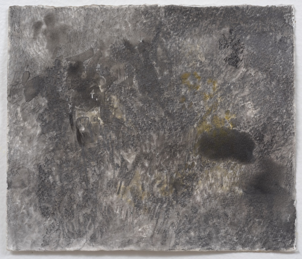 Mimi Lauter  Grayscape with ocher  2014 Watercolor, graphite, charcoal on paper 5 ½h x 6 ½w in (artwork); 10 ½h x 9 ⅝w x 1 ¾d in (framed) MLaut019