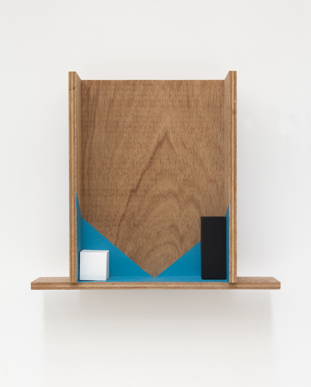 Kishio Suga  Emerging Two Corners  2008 Plywood, wood, and  paint 15 ¾h  x 13 ⅜w  x 4 ⅛d in KS006