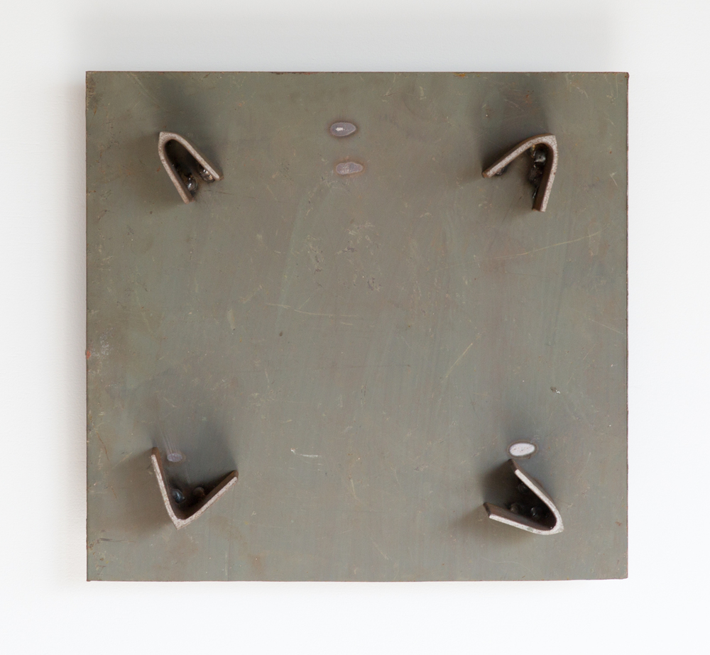 Kishio Suga  Four Edges in the Air  2001 Steel 13h x 13 ¾w x 4d in KS009