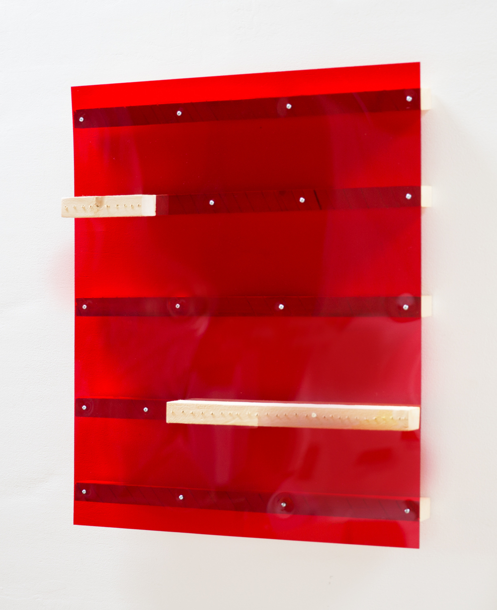 Kishio Suga  Layered Edge of Space  1994 Plastic and wood 25 ⅝h x 21 ⅝w x 3d in KS015