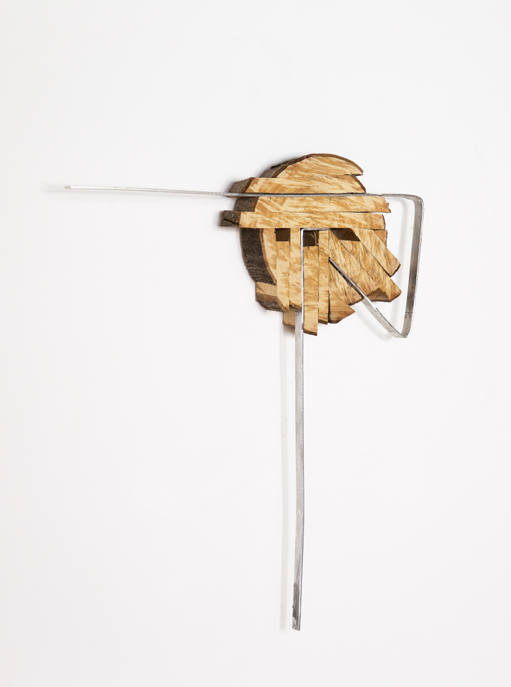 Kishio Suga  Divergent Accumulation, Broadened Orientation  1999 Wood and metal 17 ⅜h x 13 ¾w x 1 ¾d in KS018