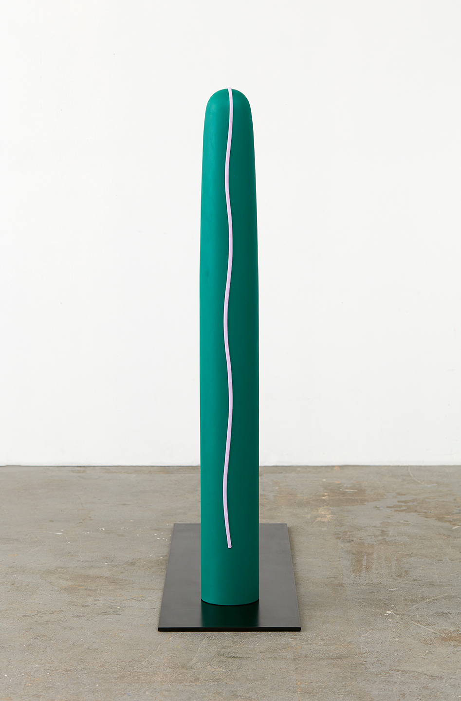 "Lisa Williamson Climber, Elegans 2015 Acrylic on wood and steel base with black acid and wax finish 52 ⅛"" x 6"" x 6""; Base 48"" x 14"" x ⅜"" LW173"