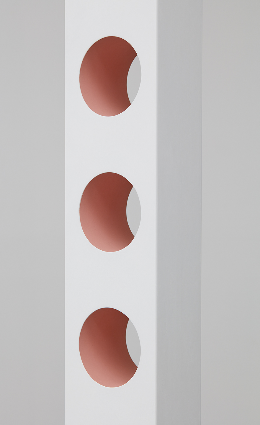 """Lisa Williamson  Round Out Rubber Holes  (Detail) 2015 Acrylic on wood and steel base with black acid and wax finish 81 ½"""" x 7 ½"""" x 5""""; Base 17 ½"""" x 15"""" x ⅜"""" LW171"""