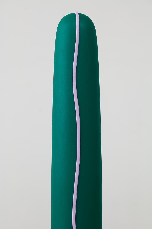 "Lisa Williamson  Climber, Elegans  (Detail) 2015 Acrylic on wood and steel base with black acid and wax finish 52 ⅛"" x 6"" x 6""; Base 48"" x 14"" x ⅜"" LW173"