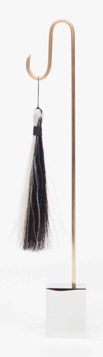 Alex Chitty  Thunder  2015 9 ¾h x 2 ¼w x 1 ½d in Stainless steel, brass, horse hair, and twine ACH002