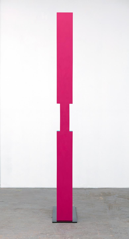 "Lisa Williamson  I Beam and Shadow  2015 Acrylic on wood and steel base with black acid and wax finish 92"" x 7"" x 3 ½""; Base 11"" x 36"" x ⅜"" LW167"