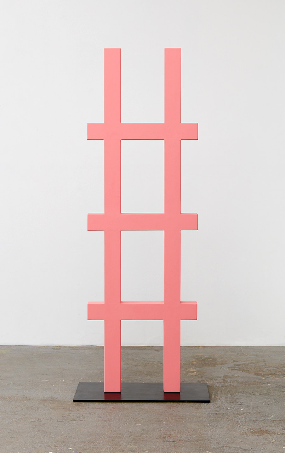 """Lisa Williamson  Escape Route  2015 Acrylic on wood and steel base with black acid and wax finish 72"""" x 23"""" x 3 ½""""; Base 28"""" x 18"""" x ⅜"""" LW169"""