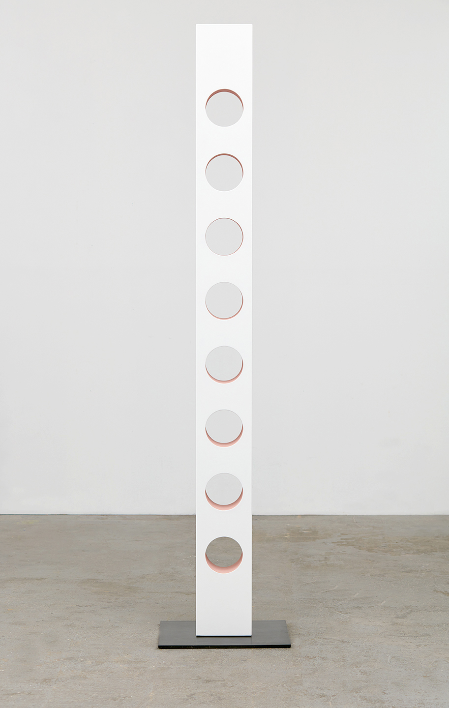 """Lisa Williamson  Round Out Rubber Holes  2015 Acrylic on wood and steel base with black acid and wax finish 81 ½"""" x 7 ½"""" x 5""""; Base 17 ½"""" x 15"""" x ⅜"""" LW171"""