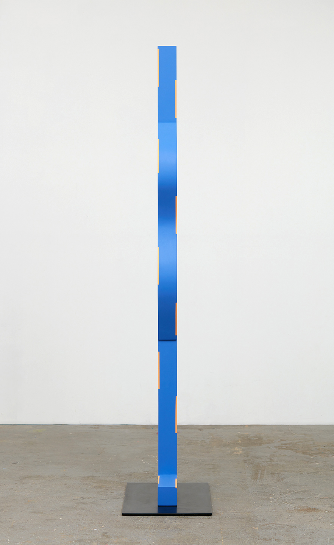 "Lisa Williamson  Multi Verse  2015 Acrylic on wood and steel base with black acid and wax finish 84"" x 14"" x 3 ½""; Base 26"" x 16"" x ⅜"" LW174"