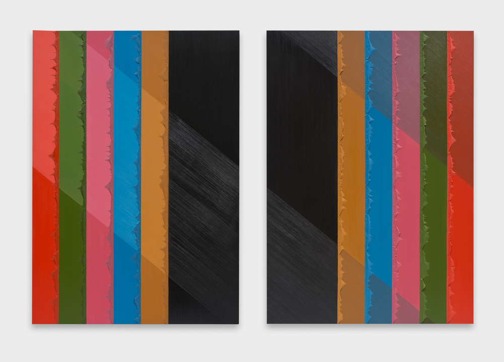 Alex Olson  Division  2015 Oil and modeling paste on canvas Diptych: 75h x 53w in each AO173