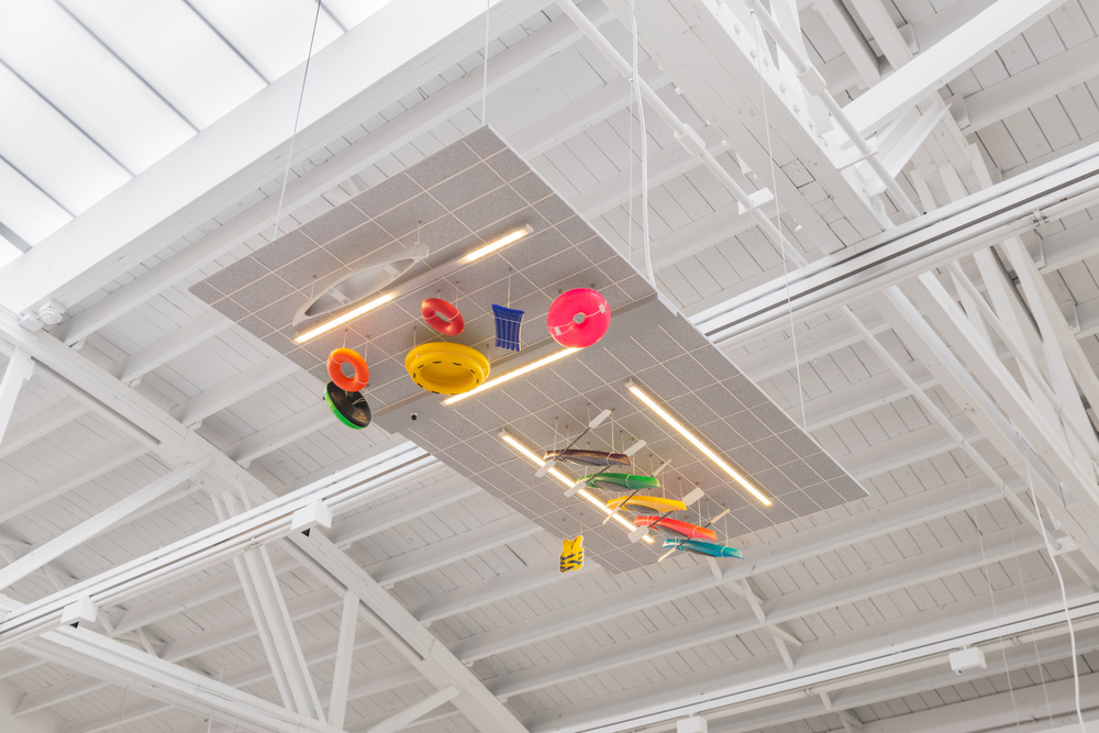 Chris Bradley Ceiling (Water Sports), 2016 Aluminum, stainless steel, cork, MDF, paper, acrylic paint, acrylic sheet, ink jet print, thread, magnets, PLA, LEDs, and hardware 5.25 x 48 x 24 in (13.34h x 121.92w x 60.96d cm) CB177