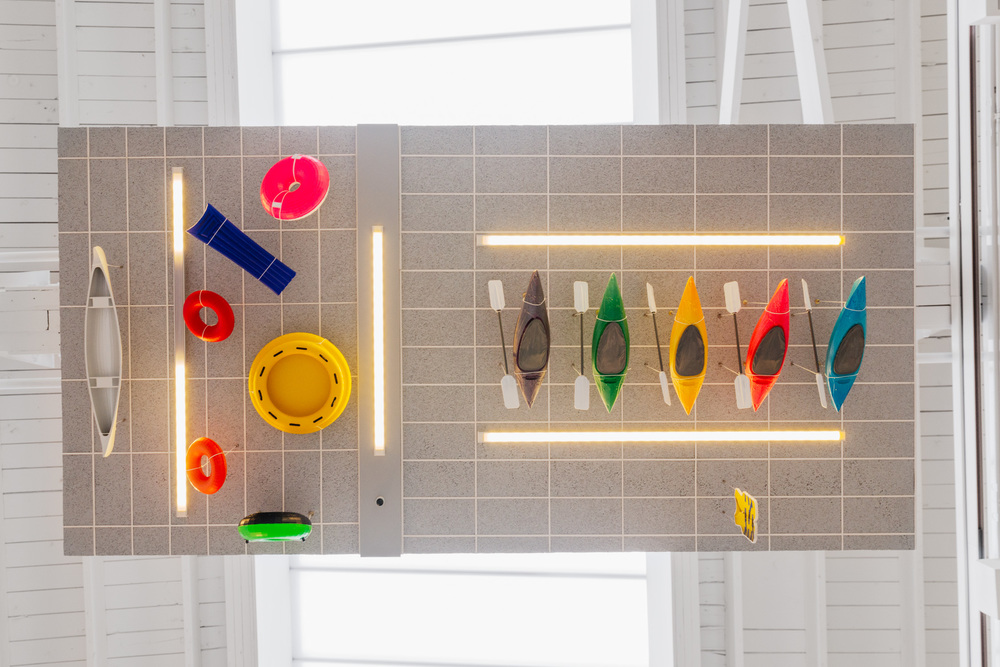 Chris Bradley  Ceiling (Water Sports)  2016 Aluminum, stainless steel, cork, MDF, paper, acrylic paint, acrylic sheet, ink jet print, thread, magnets, PLA, LEDs, and hardware 5.25h x 48w x 24d in CB177