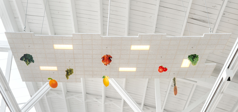 Chris Bradley  Ceiling (Big Grocery)  2016 Aluminum, cork, paper, acrylic paint, acrylic sheet, ink jet print, thread, magnets, PLA, LEDs, and hardware 5.25h x 48w x 24d in CB178