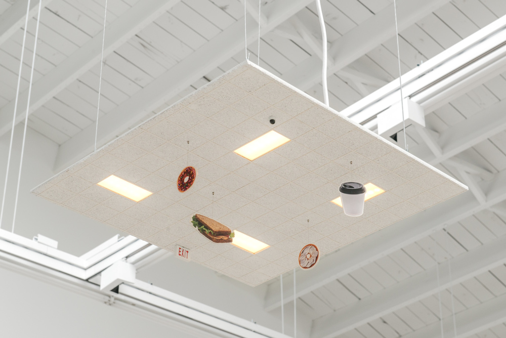 Chris Bradley  Ceiling (Deli)  2016 Aluminum, cork, paper, acrylic, inkjet print, acrylic paint, thread, magnets, PLA, LEDs, and hardware 4.75h x 24w x 24d in CB175