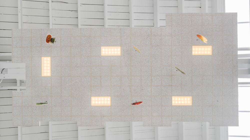 Chris Bradley  Ceiling (Big Grocery)  2016 Aluminum, cork, paper, acrylic paint, acrylic sheet, ink jet print, thread, magnets, PLA, LEDs, and hardware 5 ¼h x 48w x 24d in CB178