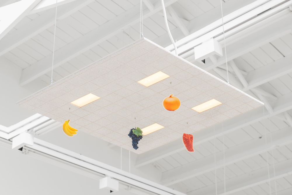 Chris Bradley Ceiling (Small Grocery), 2016 Aluminum, cork, paper, acrylic paint, acrylic sheet, ink jet print, thread, magnets, PLA, LEDs, and hardware 5.25 x 24 x 24 in (13.34h x 60.96w x 60.96d cm) CB183