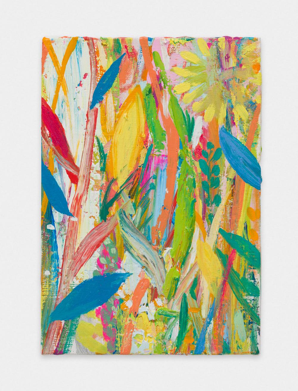 Miki Mochizuka  Blue Leaves  2015 - 2016 Oil on canvas 8.94h x 6.22w in (22.7h x 15.8w cm) MikiM003