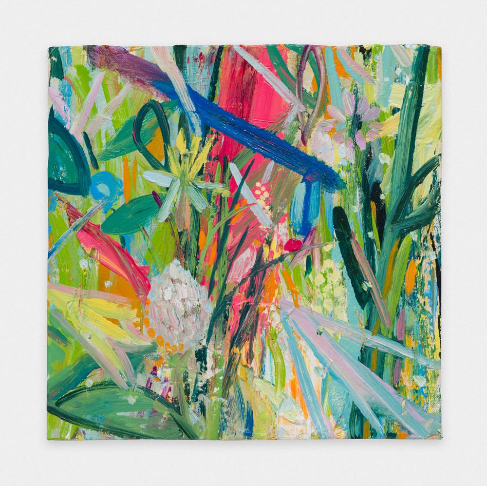 Miki Mochizuka  Blue Line  2015 - 2016 Oil on canvas 8.94h x 8.94w in (22.7h x 22.7w cm) MikiM013