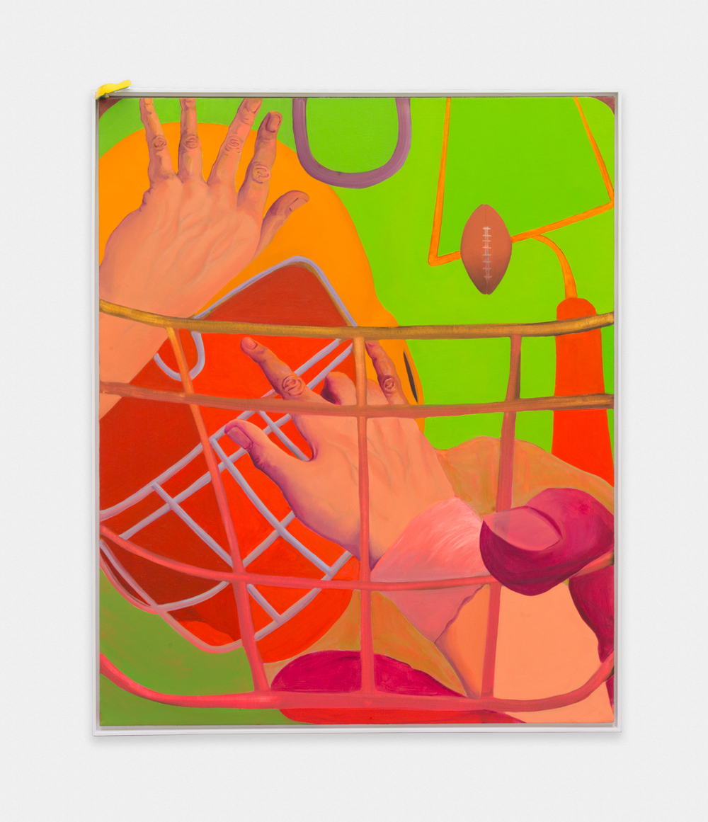Ethan Gill Composition with red, green and pink sweatband 2016 Oil on canvas 45 x 37 in (114.3h x 93.98w cm) EGill001