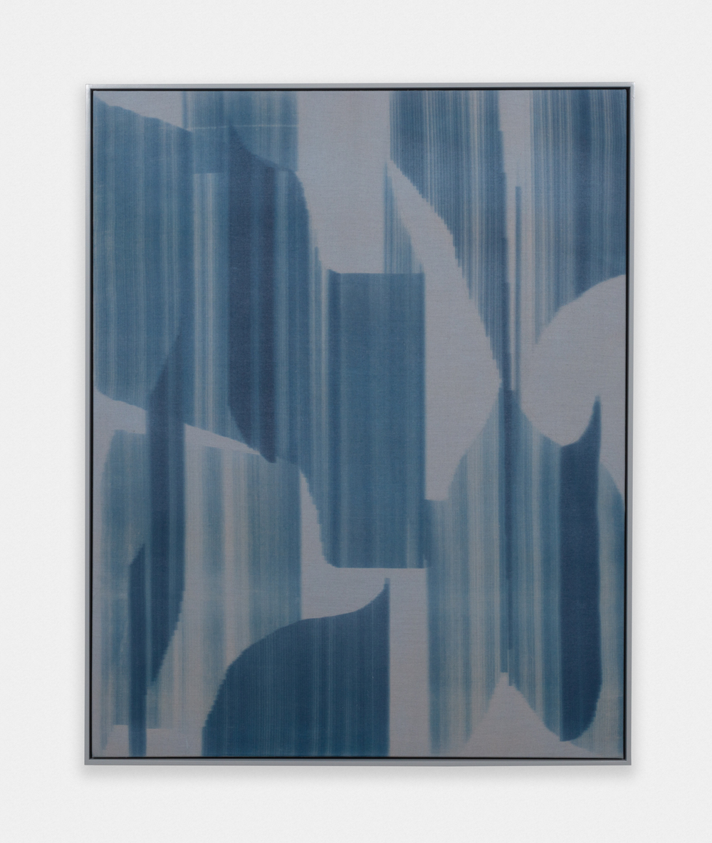 John Opera  Untitled  2016 Cyanotype and acrylic on linen in artist frame 51 ½h x 41 ½w in JO002