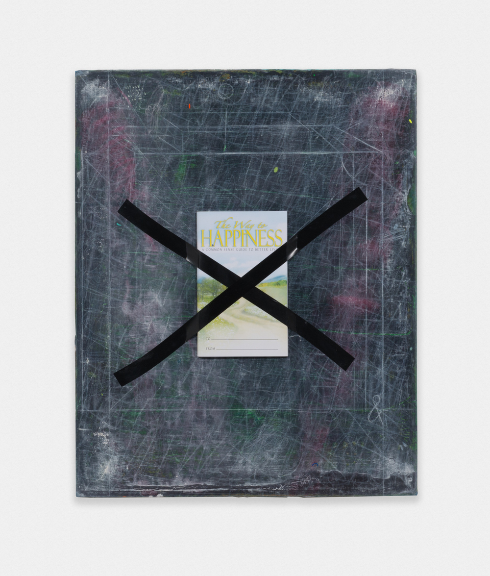 Erin Washington Untitled (take care of yourself) 2016 Chalk, acrylic, and found object on panel 20 x 16 in (50.8h x 40.64w cm) EW002