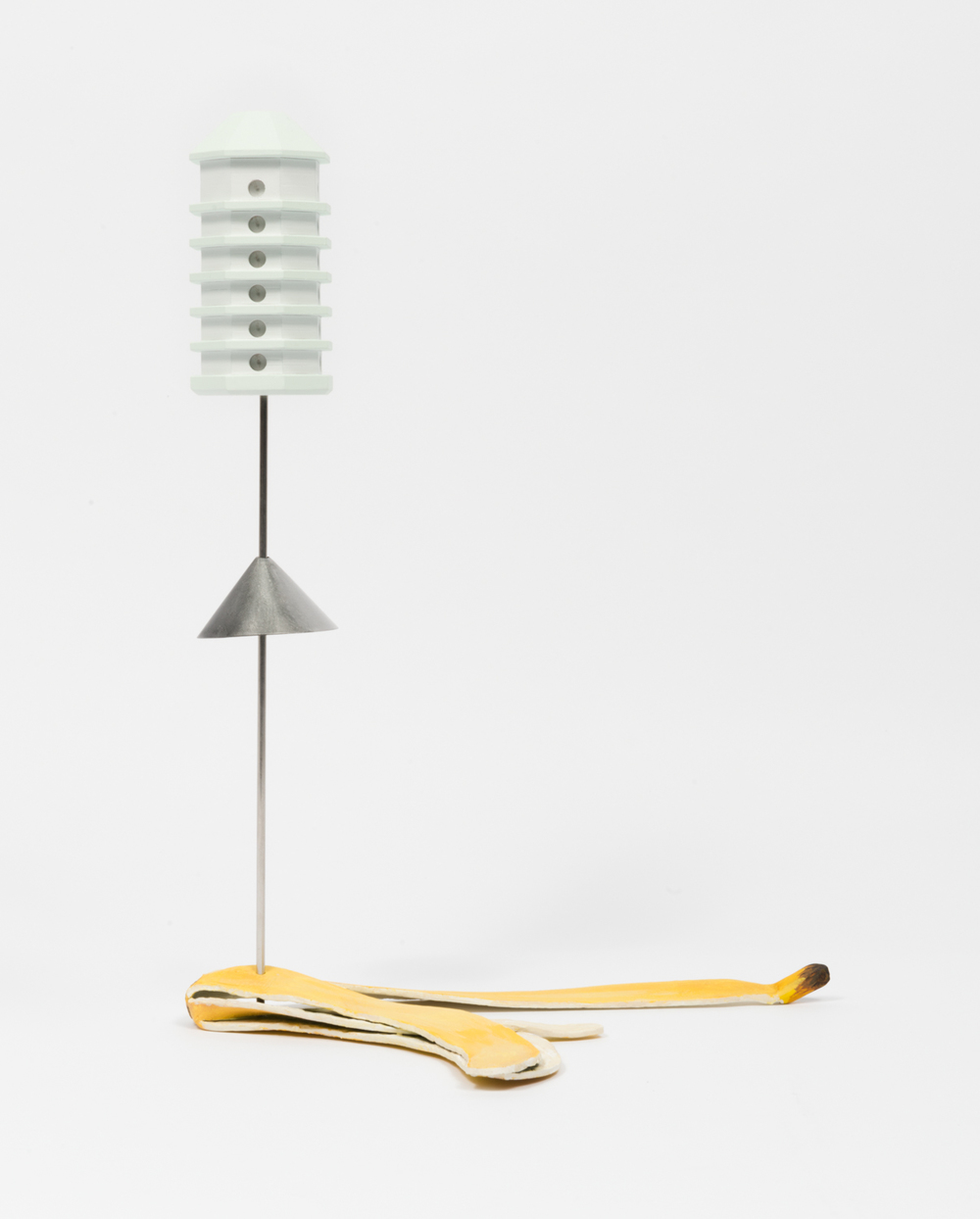 Chris Bradley Banana Peel w/ Birdhouse 2016 Steel, stainless steel, wood, acrylic paint, and hardware 13 x 10 x 6 in (33.02h x 25.4w x 15.24d cm) CB185