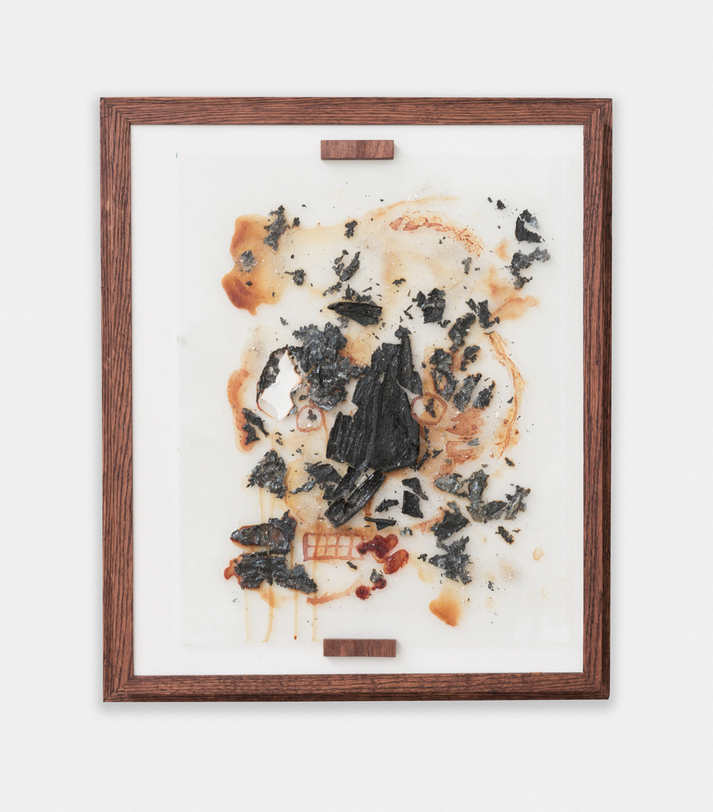 Shane Huffman Asif (Metamodern Prometheus) [Witches wombs and trips to the moon], for Pa and J.K. 2012-2015 Menstrual blood, semen, human ashes, burned photographs of the lunar surface, and self-leveling gel medium 25.38 x 21.5 x 4.63 in (64.47h x 54.61w x 11.76d cm) SH008