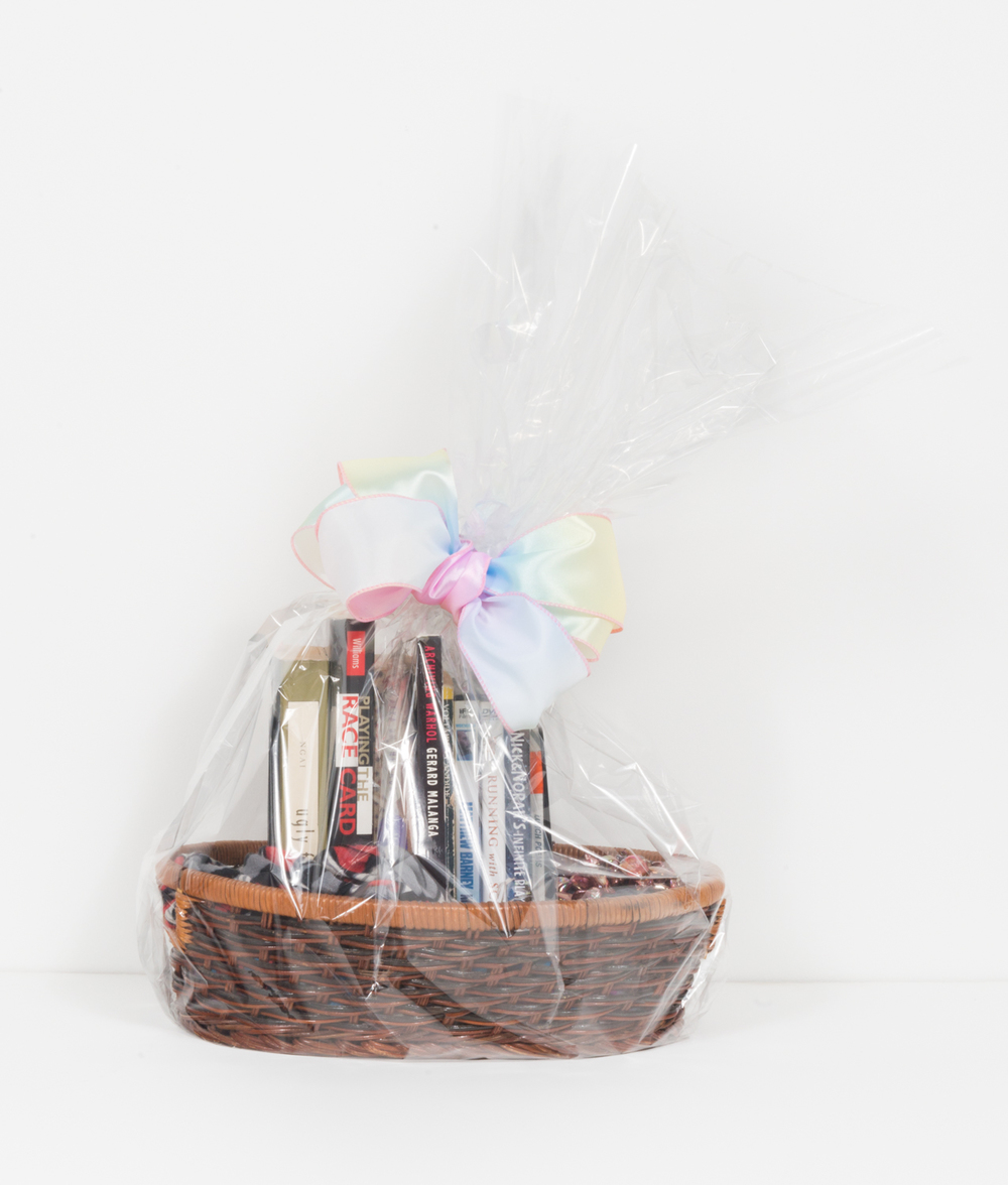 "Kelly Lloyd Things I ""Borrowed"" and Will Most Likely Never Return 2016 Gift basket 24 x 15 x 10 in (60.96h x 38.1w x 25.4d cm) KL005"