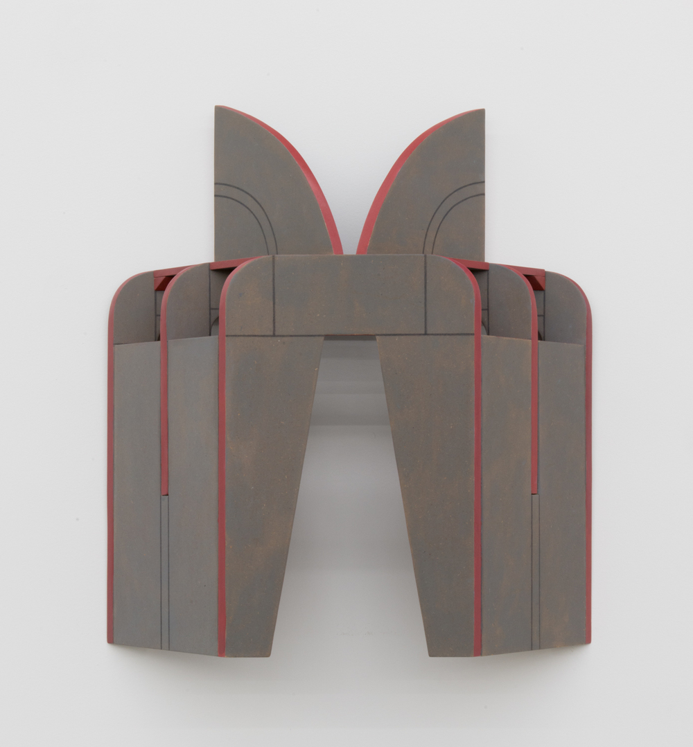 Diane Simpson  Cape (buttressed)  2011 MDF, oil stain, acrylic paint, and colored pencil 27h x 24 1/2w x 7d in (sculpture); 18 1/2h x 36w x 16d in (base) DS001