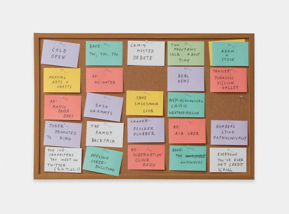 Jesse Malmed  Sketch  2016 Marker on index cards on bulletin board (with tacks) 24h x 36w in JMal001
