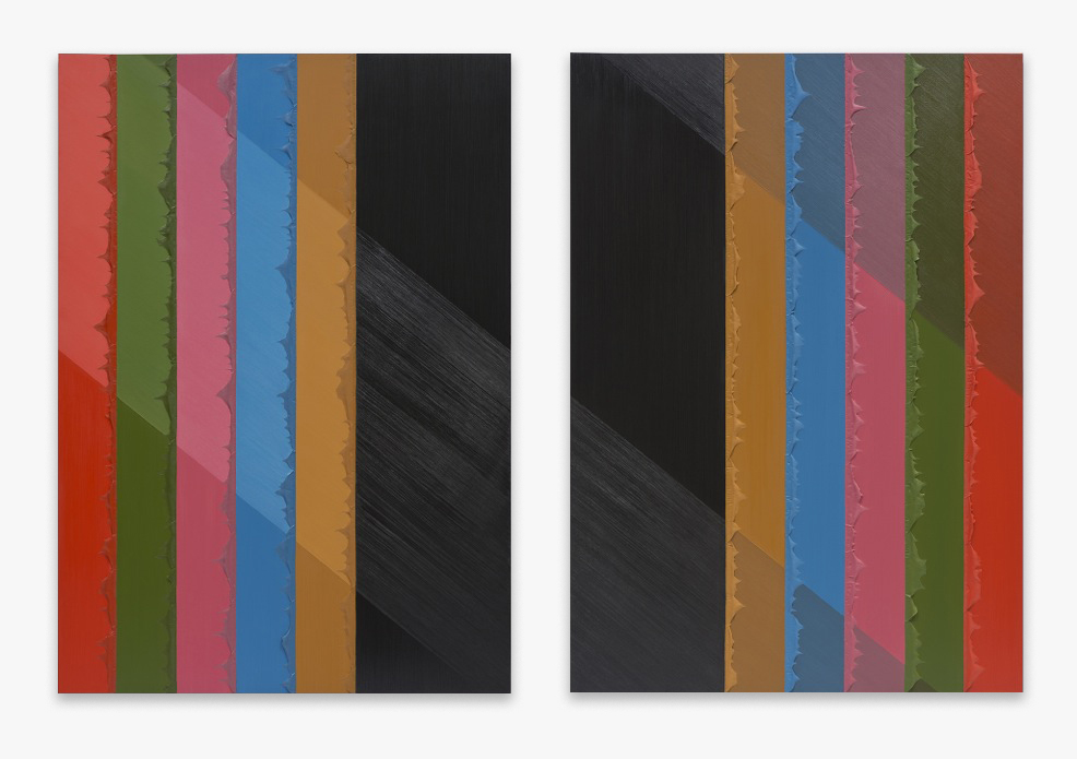"Alex Olson Division 2015 Oil and modeling paste on canvas 75"" x 53"" each AO173"
