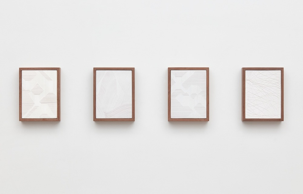 Anthony Pearson  Untitled (Four Part Etched Plaster)  2016 Pigmented hydrocal in four walnut frames Each 10 1/2h x 8w x 1 3/4d in, overall 10 1/2h x 51 1/2w x 1 3/4d in AP435