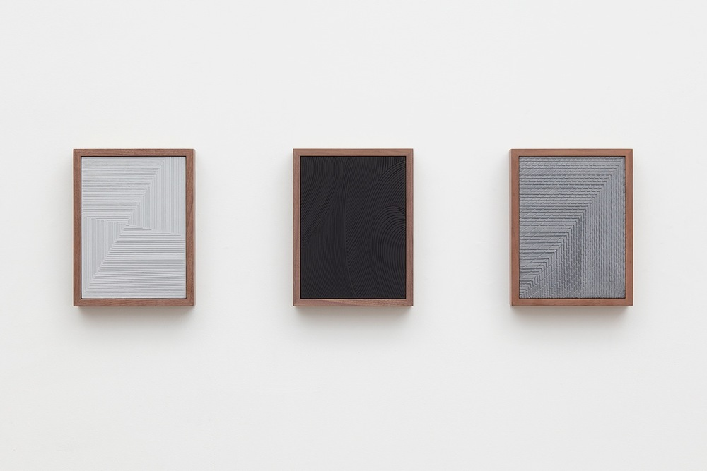 Anthony Pearson  Untitled (Etched Plaster Triptych)  2016 Medium coated and pigmented hydrocal in three walnut frames Each 10 1/2h x 8w x 1 3/4d in, overall 10 1/2h x 37w x 1 3/4d in AP432