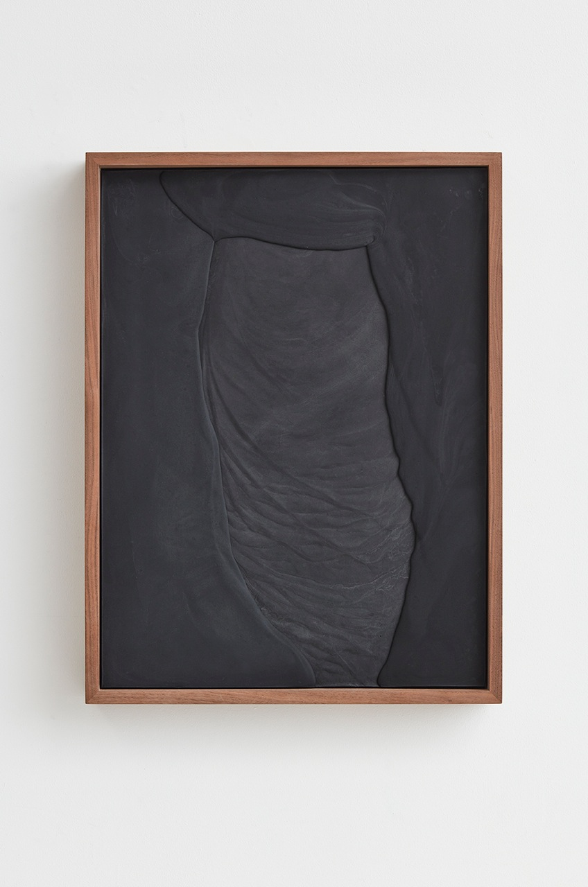 Anthony Pearson  Untitled (Plaster Positive)  2016 Pigmented hydrocal in walnut frame 28 ¾h x 21 ½w x 3 ¼d in AP414