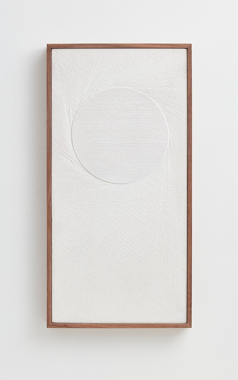 Anthony Pearson  Untitled (Etched Plaster)  2016 Hydrocal in walnut frame 48 ½h x 24 ¾w x 3 ½d in AP412
