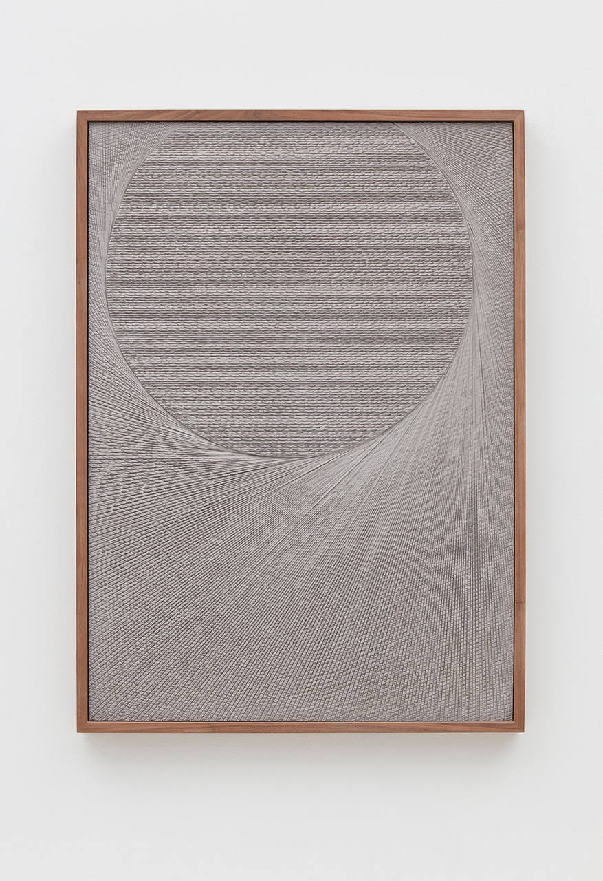 Anthony Pearson  Untitled (Etched Plaster)  2016 Pigmented hydrocal in walnut frame 43h x 30.75w x 2.5d in AP416